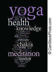 nuvem, conceito, palavra, illustration., yoga.