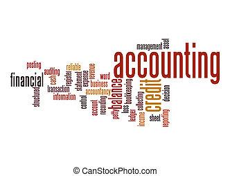 nuvem, contabilidade, palavra