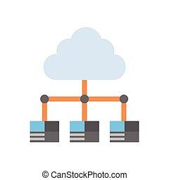 nuvem, dados centram, ícone, conexão computador, hosting,...
