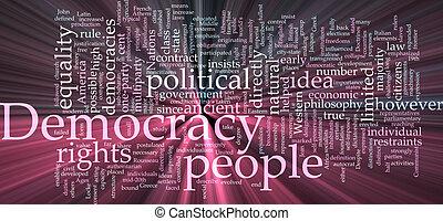 nuvem, democracia, glowing, palavra