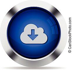 nuvem, download, botão