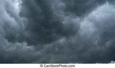 nuvem, dramático, timelapse, chuva, fundo