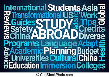 nuvem, estudo, palavra, estrangeiro