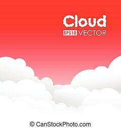 nuvem, fundo, vermelho