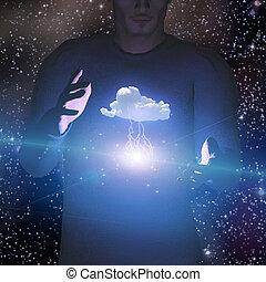 nuvem, homem, controles, poder, relampago