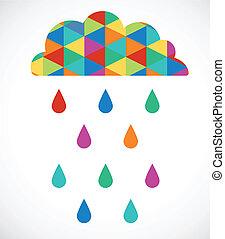 nuvem, imagem, vetorial, modernos, coloridos