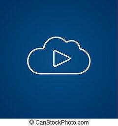 nuvem, jogo, linha, botão, icon.