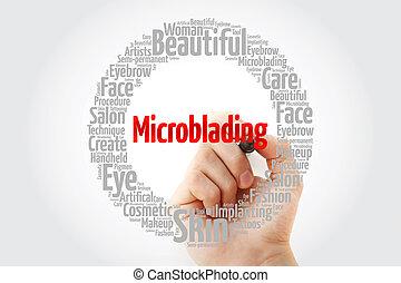 nuvem, palavra, colagem, microblading