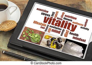 nuvem, palavra, vitalidade, tabuleta, digital
