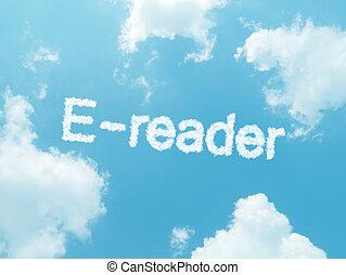 nuvem, palavras, com, desenho, ligado, céu azul, fundo