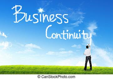 nuvem, para, conceito negócio, negócio, continuidade