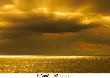 nuvem, sobre, mar, tempestade, anoitecer
