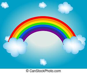 nuvem, sol, arco íris, vetorial, ilustração, fundo
