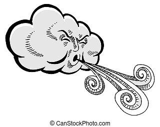 nuvem, soprando, caricatura, vento, desenho