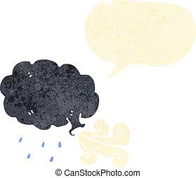 nuvem, soprando, retro, vento, caricatura
