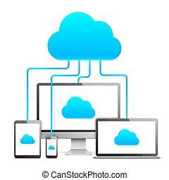 nuvem, tecnologia, conceito