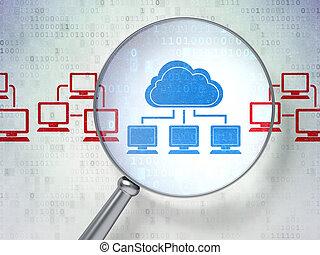 nuvem, tecnologia, concept:, nuvem, tecnologia, com, óptico,...