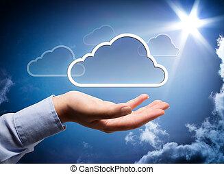 nuvem, tecnologia, mão, seu