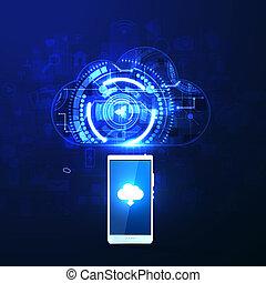 nuvem, upload, com, apps, ilustração