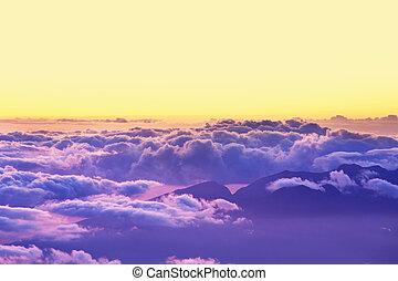 nuvens, acima