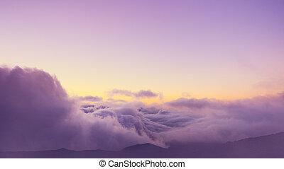 nuvens, acima, vista