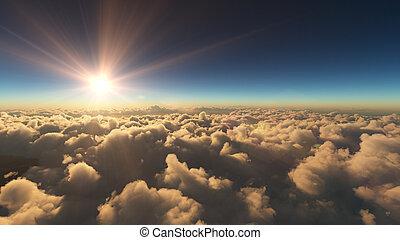 nuvens, amanhecer, acima