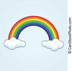nuvens, arco íris, clássicas, simples, vetorial