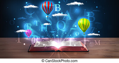 nuvens, balões, abstratos, fantasia, glowing, livro, abertos