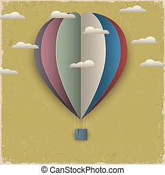 nuvens, balloon, ar, quentes, papel, retro