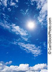 nuvens brancas, e, céu, em, céu