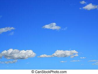 nuvens brancas, ligado, céu azul