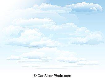 nuvens, céu branco, fundo