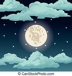 nuvens, céu grande, lua, estrelas, noturna