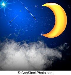 nuvens, céu, lua, vetorial, estrelas, noturna