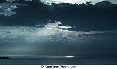 nuvens, céu, natureza, meio ambiente, mar, timelapse