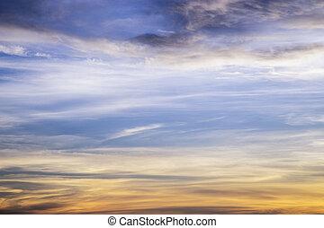 nuvens, céu ocaso