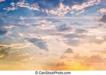 nuvens, céu ocaso, dramático