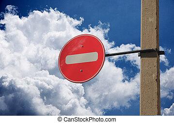 nuvens, céu, proibição, sinal, tráfego, contra