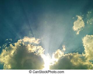 nuvens, céu, sol