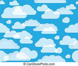 nuvens, céu, verde-azul