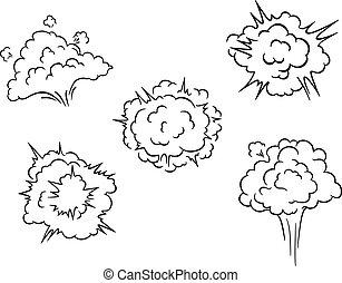 nuvens, caricatura, explosões