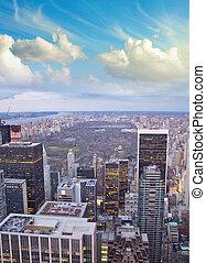 nuvens, cidade, central, sobre, parque, york, novo