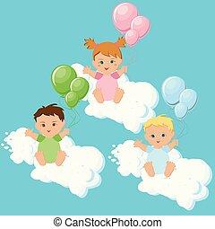 nuvens, coloridos, sentando, dois meninos, menina, balloons.