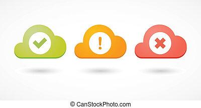 nuvens, com, cheque, marcas, ícones