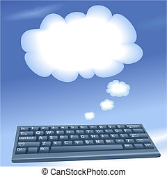 nuvens, computando, computador, fala, teclado, bolha, nuvem