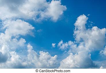 nuvens, contra, a, céu azul, lugar, para, seu, texto, para, desenho