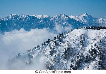 nuvens, cume, inverno, ferva