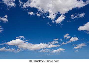 nuvens cumulus, perfeitos, branca, em, céu azul
