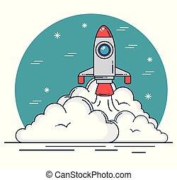 nuvens, desenho, foguete