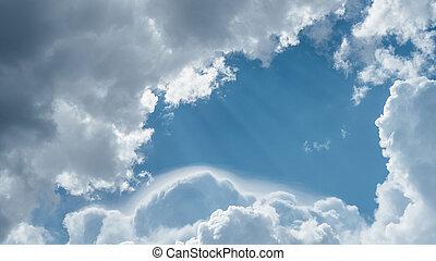 nuvens, e, céu, para, texto